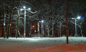 Вятка. Зима. Вечерний город, Парк железнодорожников