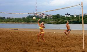 Волейбол на пляже. Ливень, plag-013